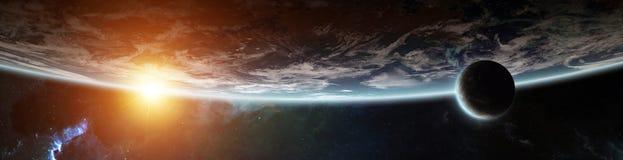 Πανόραμα του απόμακρου συστήματος πλανητών στα διαστημικά τρισδιάστατα δίνοντας στοιχεία διανυσματική απεικόνιση