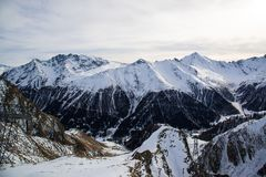 Πανόραμα του αυστριακού χιονοδρομικού κέντρου Ischgl Στοκ φωτογραφία με δικαίωμα ελεύθερης χρήσης