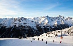 Πανόραμα του αυστριακού χιονοδρομικού κέντρου Ischgl Στοκ Φωτογραφίες