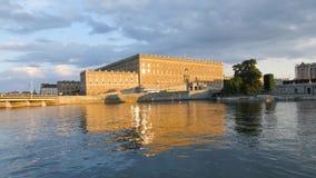 Πανόραμα του βασιλικού παλατιού στη Στοκχόλμη, Σουηδία απόθεμα βίντεο