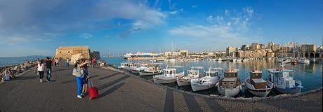 Πανόραμα του λιμένα σε Ηράκλειο, Κρήτη, Ελλάδα στοκ εικόνες με δικαίωμα ελεύθερης χρήσης