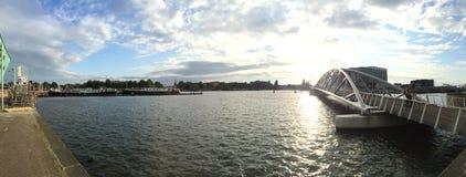 Πανόραμα του λιμανιού του Άμστερνταμ Στοκ Φωτογραφίες