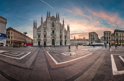 Πανόραμα του καθεδρικού ναού του Μιλάνου (Di Μιλάνο Duomo) Στοκ Εικόνες