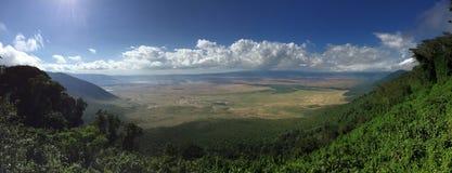 Πανόραμα του κρατήρα Ngorongoro Στοκ εικόνες με δικαίωμα ελεύθερης χρήσης