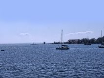 Πανόραμα του κόλπου στην πόλη της Κέρκυρας στο ελληνικό νησί της Κέρκυρας Στοκ Εικόνες