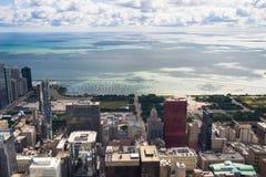 Πανόραμα του Μίτσιγκαν λιμνών από τον πύργο του Σικάγου στοκ εικόνες με δικαίωμα ελεύθερης χρήσης