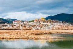 Πανόραμα του ναού Songzanlin στο shangri-Λα, Yunnan, Κίνα στοκ φωτογραφία με δικαίωμα ελεύθερης χρήσης