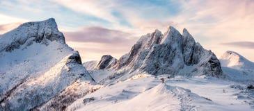 Πανόραμα του ορεσιβίου που στέκεται πάνω από τη χιονώδη σειρά βουνών στοκ φωτογραφίες