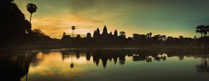 Πανόραμα του ορόσημου Angkor Wat της Καμπότζης Στοκ εικόνα με δικαίωμα ελεύθερης χρήσης
