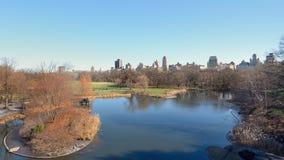 Πανόραμα του Central Park με τη δεξαμενή Στοκ εικόνα με δικαίωμα ελεύθερης χρήσης
