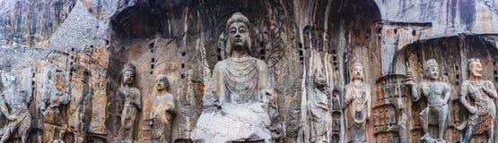 Πανόραμα του Longmen Grottoes Βούδας στοκ εικόνες με δικαίωμα ελεύθερης χρήσης