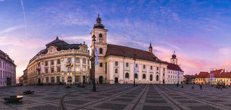 Πανόραμα του Sibiu, Τρανσυλβανία, Ρουμανία Στοκ Φωτογραφία