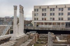 Πανόραμα των καταστροφών ρωμαϊκού Odeon στην πόλη Plovdiv, Βουλγαρία Στοκ εικόνα με δικαίωμα ελεύθερης χρήσης