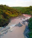 Πανόραμα των ορμητικά σημείων ποταμού στον ποταμό Awash, Αιθιοπία Στοκ εικόνα με δικαίωμα ελεύθερης χρήσης