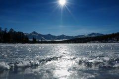 Πανόραμα των παγωμένων λιμνών, που καλύπτεται με τον πάγο και το χιόνι Στο σαφή καιρό με έναν μπλε ουρανό στο φως του ήλιου αλσατ στοκ εικόνες με δικαίωμα ελεύθερης χρήσης