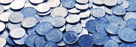 Πανόραμα των ρωσικών νομισμάτων Στοκ Εικόνες