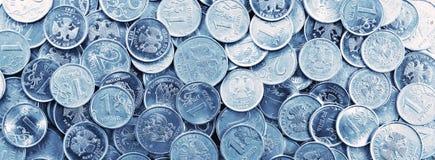 Πανόραμα των ρωσικών νομισμάτων Στοκ φωτογραφία με δικαίωμα ελεύθερης χρήσης
