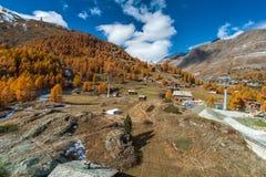 Πανόραμα φθινοπώρου σε Zermatt, Άλπεις Στοκ Εικόνες