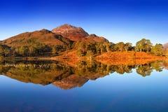 Πανόραμα φθινοπώρου της λίμνης Claire με τις απόψεις Beinn Eighe και Liathach από πέρα από το νερό Glen Torridon, Χάιλαντς Σκωτία στοκ εικόνες