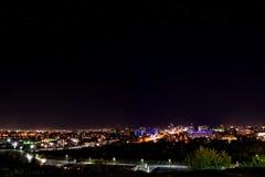 Πανόραμα φω'των νύχτας πόλεων Στοκ εικόνα με δικαίωμα ελεύθερης χρήσης