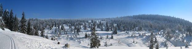 Πανόραμα χειμερινών βουνών Στοκ Φωτογραφίες