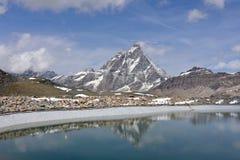 Πανόραμα Cervino Monte, Valle δ ` Aosta, Ιταλία Στοκ Φωτογραφία