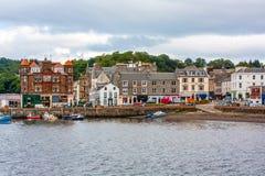 Πανόραμα Oban, μιας παραθεριστικής πόλης μέσα στο Argyll και της περιοχής των συμβουλίων Bute της Σκωτίας Στοκ Εικόνες