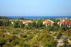 Πανόραμα «Pag» νησιών «Novalja», Κροατία, Δαλματία Στοκ Εικόνες