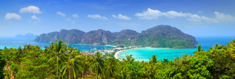 Πανόραμα Phi phi του νησιού, Krabi, Ταϊλάνδη. Στοκ Εικόνες
