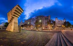 Πανόραμα Placa de Catalunya το πρωί, Βαρκελώνη, Ισπανία Στοκ Φωτογραφίες