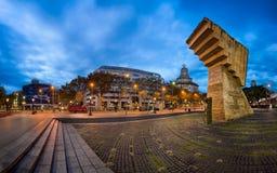 Πανόραμα Placa de Catalunya το πρωί, Βαρκελώνη, Ισπανία Στοκ φωτογραφίες με δικαίωμα ελεύθερης χρήσης