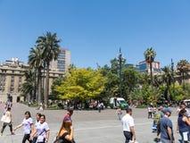 Πανόραμα Plaza de Armas της πλατείας στο Σαντιάγο de Χιλή Στοκ Φωτογραφίες