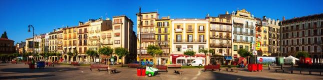 Πανόραμα Plaza del Castillo στο Παμπλόνα Στοκ εικόνα με δικαίωμα ελεύθερης χρήσης
