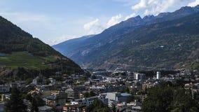 Πανόραμα Visp στην Ελβετία - βίντεο χρονικού σφάλματος απόθεμα βίντεο