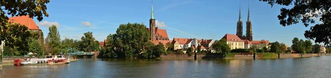 Πανόραμα Wroclaw - Ostrow Tumski Στοκ Εικόνες