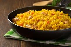 Παν σύνολο τηγανίσματος του ρυζιού στο ξύλο Στοκ εικόνες με δικαίωμα ελεύθερης χρήσης