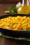Παν σύνολο τηγανίσματος του ρυζιού στο ξύλο Στοκ φωτογραφίες με δικαίωμα ελεύθερης χρήσης