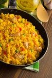 Παν σύνολο τηγανίσματος του ρυζιού στο ξύλο Στοκ Εικόνα