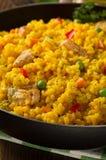 Παν σύνολο τηγανίσματος του ρυζιού στο ξύλο Στοκ Φωτογραφία