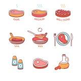 Παν τηγάνισμα μπριζόλας και μαγείρεμα, πετρέλαιο, άλας, κρέας Στοκ Εικόνες