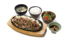 Παν-τηγανισμένο βόειο κρέας με το σύνολο σάλτσας σόγιας στοκ εικόνα