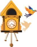 Παπαγάλος και κρεμώντας ρολόι Στοκ Εικόνες