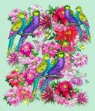 Παπαγάλος και όμορφα λουλούδια ελεύθερη απεικόνιση δικαιώματος