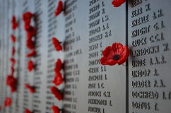 Παπαρούνες που αφήνονται από τους επισκέπτες στο αυστραλιανό πολεμικό μνημείο Στοκ Φωτογραφίες