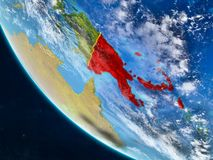 Παπούα Νέα Γουϊνέα από το διάστημα στη γη διανυσματική απεικόνιση