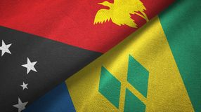 Παπούα Νέα Γουϊνέα και Άγιος Βικέντιος και Γρεναδίνες δύο υφαντικό ύφασμα σημαιών ελεύθερη απεικόνιση δικαιώματος