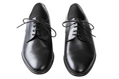 Παπούτσια δέρματος μαύρων με τα κορδόνια που απομονώνονται στο λευκό Στοκ εικόνα με δικαίωμα ελεύθερης χρήσης