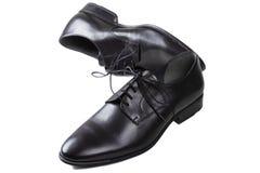 Παπούτσια δέρματος μαύρων με τα κορδόνια Στοκ φωτογραφίες με δικαίωμα ελεύθερης χρήσης