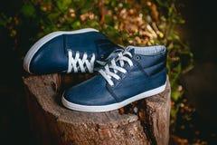 Παπούτσια ατόμων, πάνινα παπούτσια στη φύση Στοκ Εικόνες