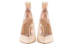 Παπούτσια γυναικών ` s σε ένα άσπρο υπόβαθρο υποδήματα ασφαλίστρου Ιταλικά μαρκαρισμένα παπούτσια Στοκ φωτογραφία με δικαίωμα ελεύθερης χρήσης